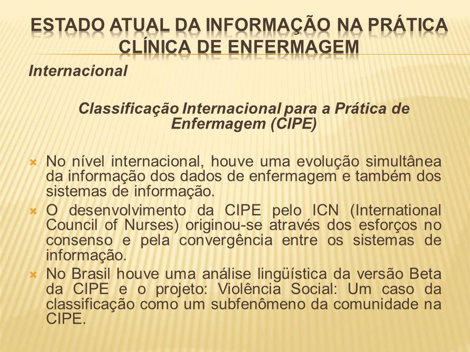 Internacional Classificação Internacional para a Prática de Enfermagem (CIPE) No nível internacional, houve uma evolução simultânea da informação dos