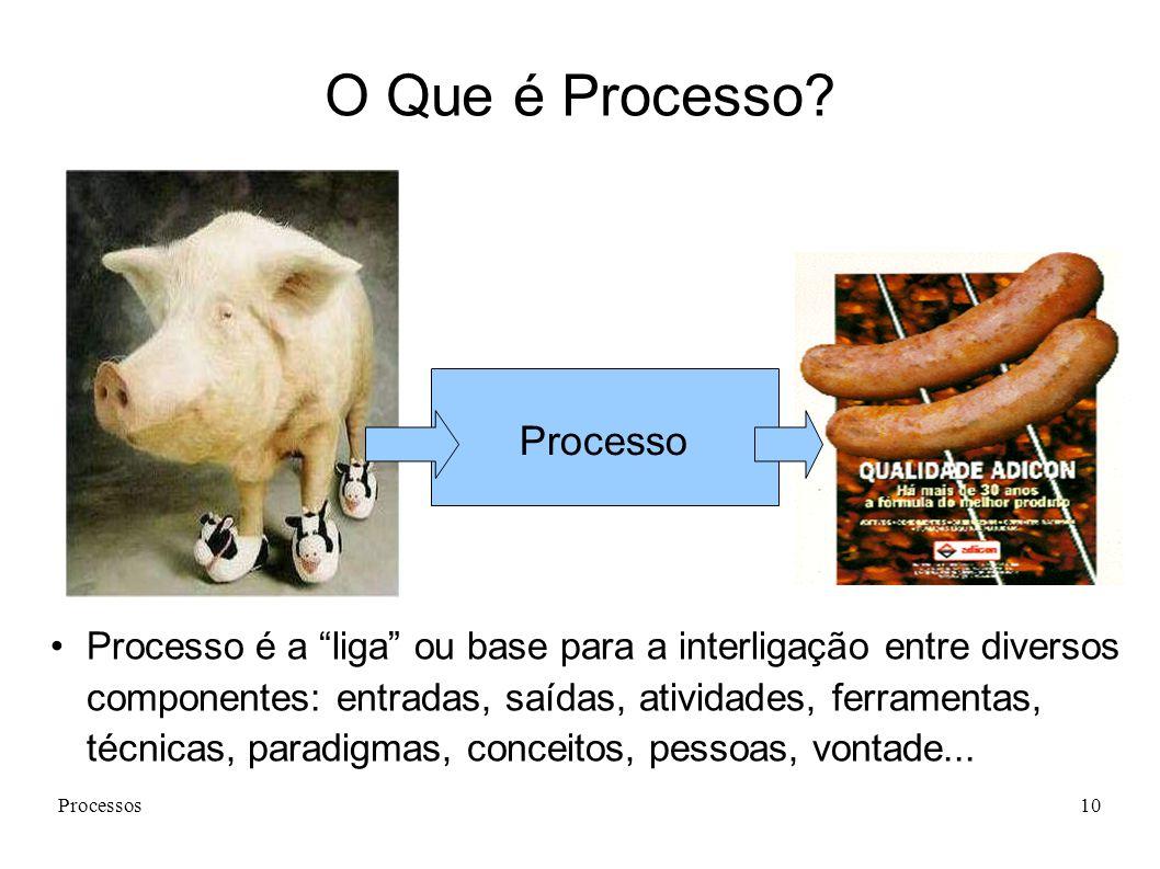Processos10 Processo Processo é a liga ou base para a interligação entre diversos componentes: entradas, saídas, atividades, ferramentas, técnicas, paradigmas, conceitos, pessoas, vontade...