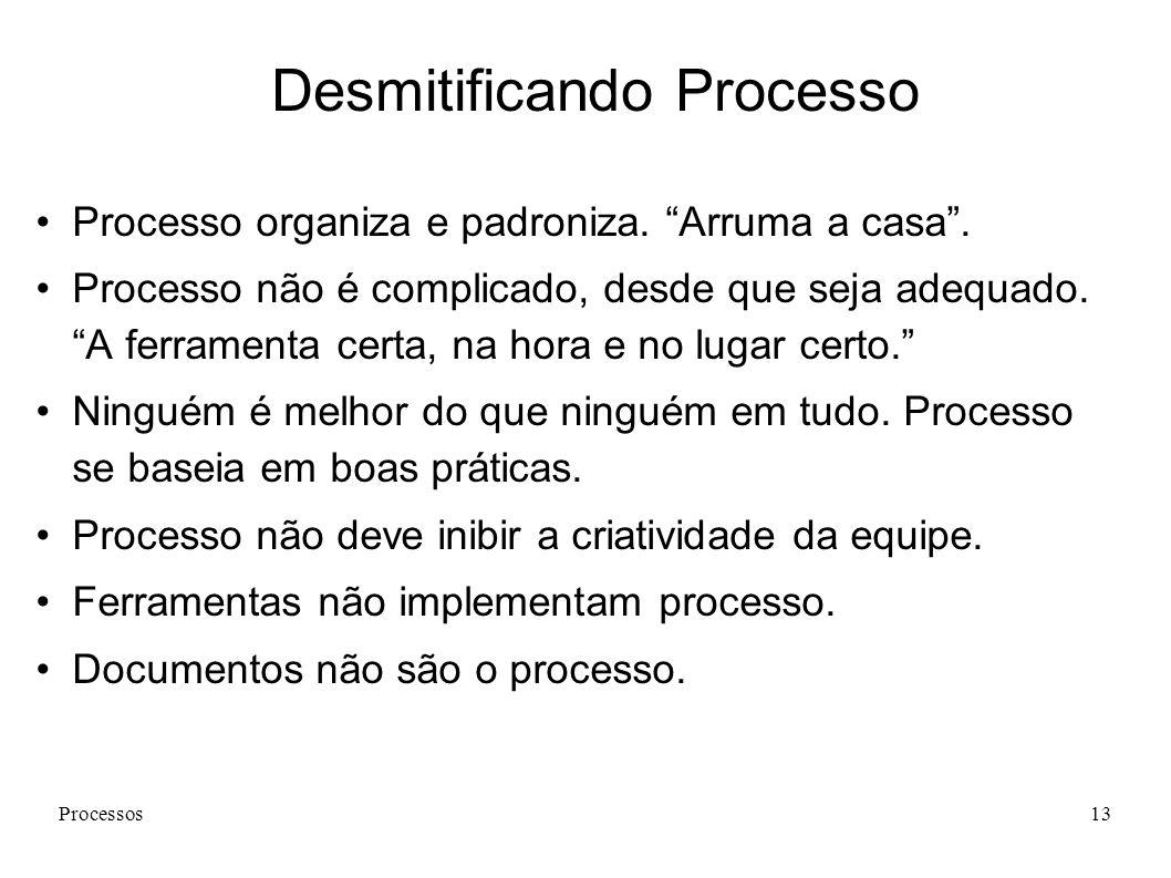 Processos13 Desmitificando Processo Processo organiza e padroniza. Arruma a casa. Processo não é complicado, desde que seja adequado. A ferramenta cer