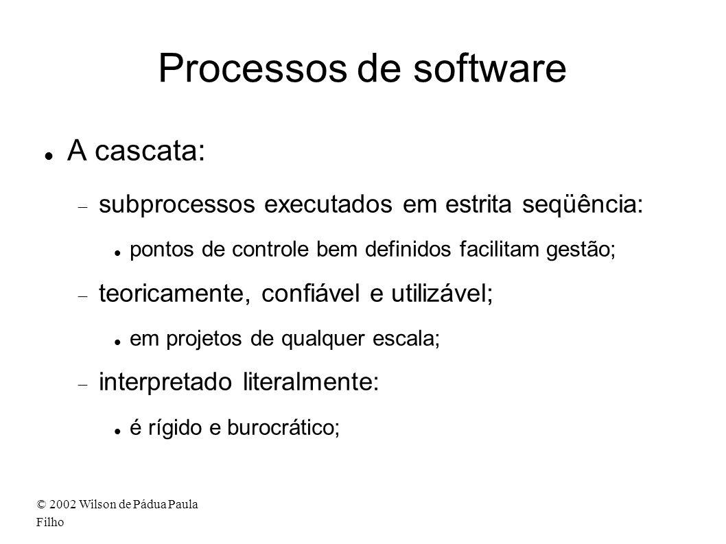 © 2002 Wilson de Pádua Paula Filho Processos de software A cascata: subprocessos executados em estrita seqüência: pontos de controle bem definidos fac