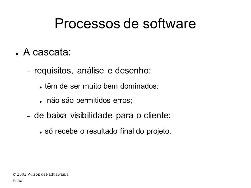 © 2002 Wilson de Pádua Paula Filho Processos de software A cascata: requisitos, análise e desenho: têm de ser muito bem dominados: não são permitidos erros; de baixa visibilidade para o cliente: só recebe o resultado final do projeto.