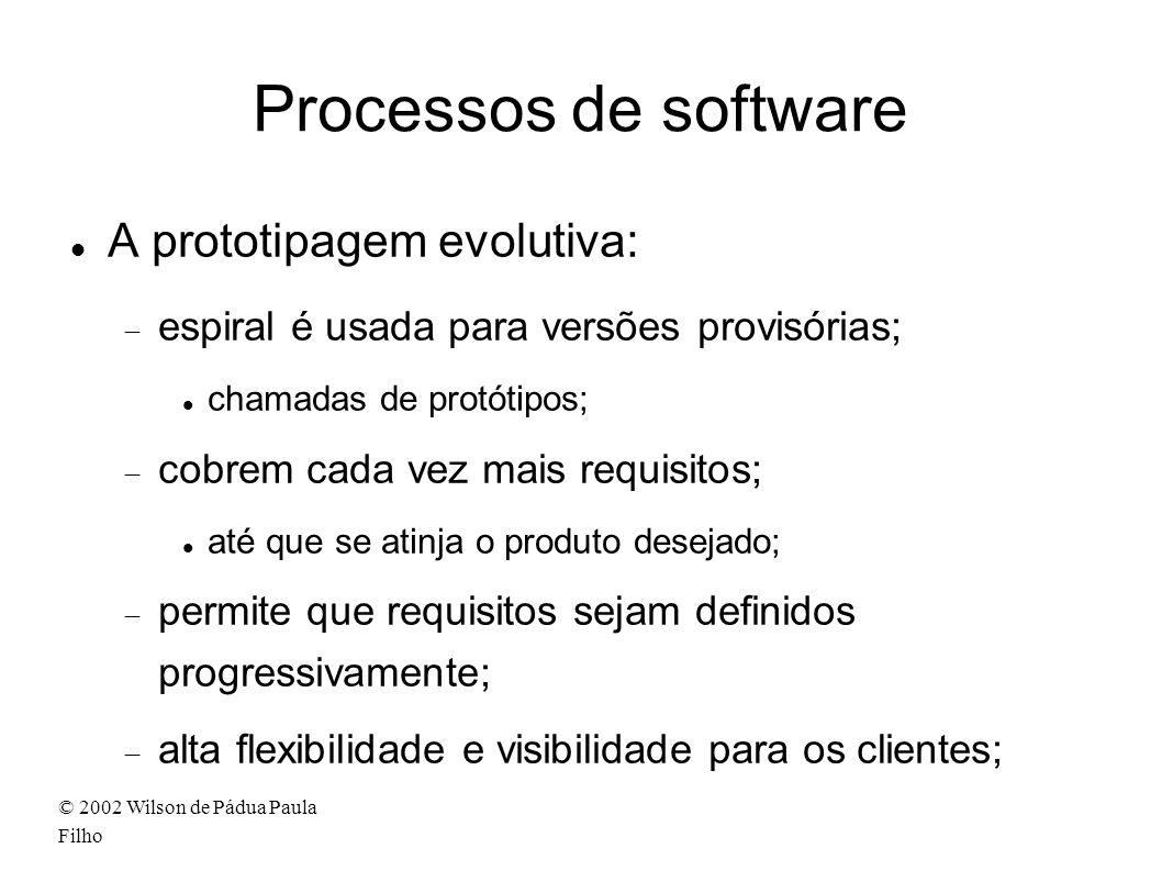 © 2002 Wilson de Pádua Paula Filho Processos de software A prototipagem evolutiva: espiral é usada para versões provisórias; chamadas de protótipos; c