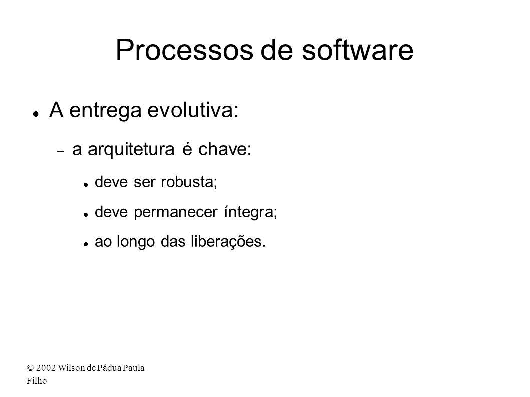 © 2002 Wilson de Pádua Paula Filho Processos de software A entrega evolutiva: a arquitetura é chave: deve ser robusta; deve permanecer íntegra; ao longo das liberações.