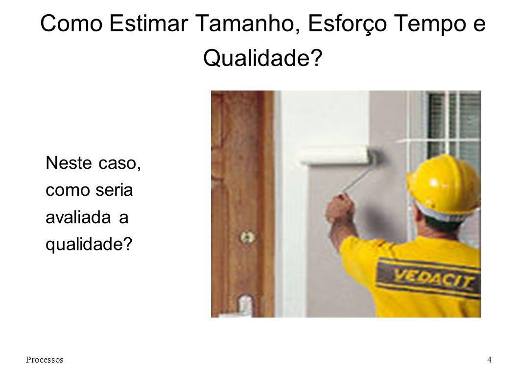 Processos4 Como Estimar Tamanho, Esforço Tempo e Qualidade.