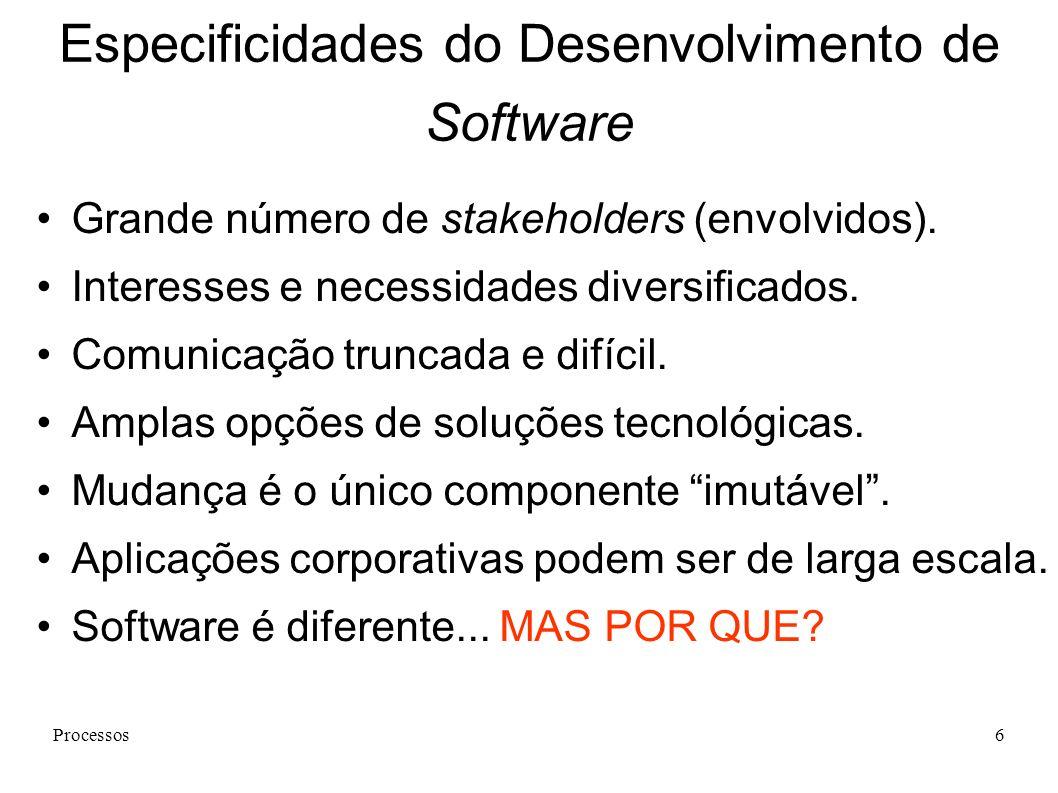 Processos6 Especificidades do Desenvolvimento de Software Grande número de stakeholders (envolvidos). Interesses e necessidades diversificados. Comuni