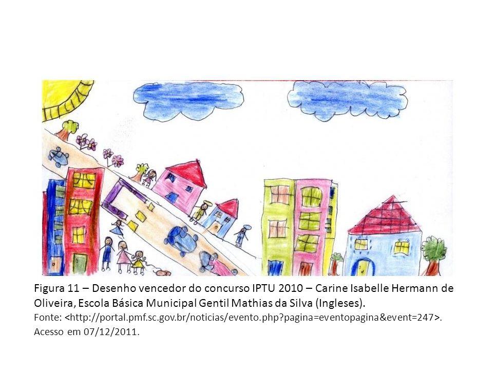 Figura 11 – Desenho vencedor do concurso IPTU 2010 – Carine Isabelle Hermann de Oliveira, Escola Básica Municipal Gentil Mathias da Silva (Ingleses).