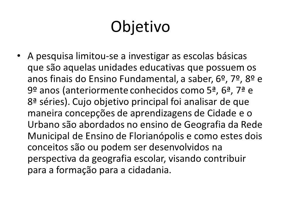Objetivo A pesquisa limitou-se a investigar as escolas básicas que são aquelas unidades educativas que possuem os anos finais do Ensino Fundamental, a saber, 6º, 7º, 8º e 9º anos (anteriormente conhecidos como 5ª, 6ª, 7ª e 8ª séries).