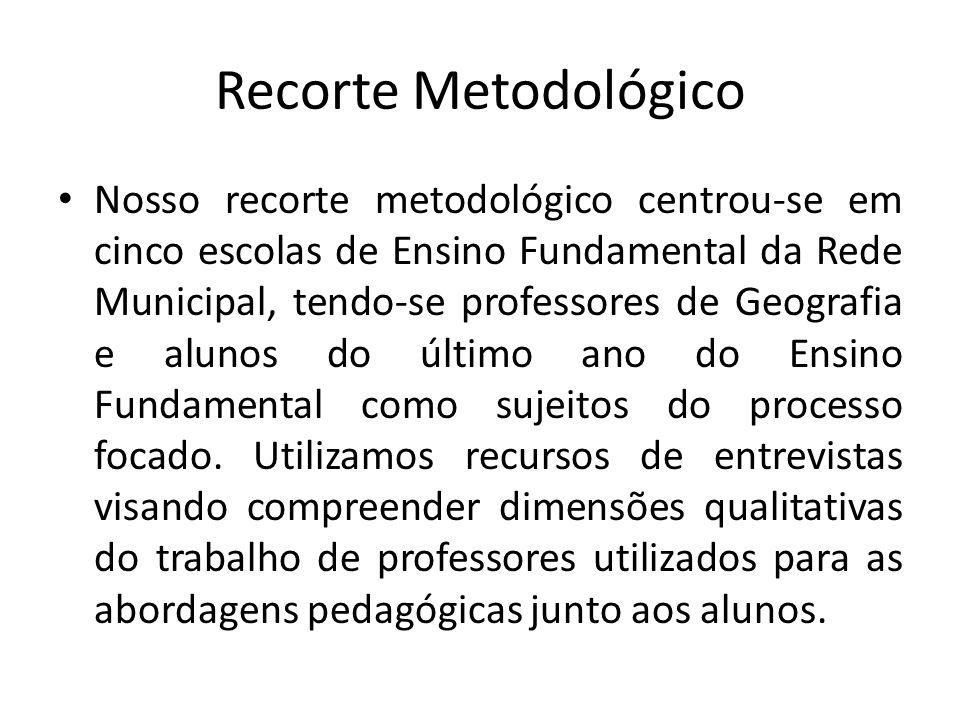 Recorte Metodológico Nosso recorte metodológico centrou-se em cinco escolas de Ensino Fundamental da Rede Municipal, tendo-se professores de Geografia e alunos do último ano do Ensino Fundamental como sujeitos do processo focado.