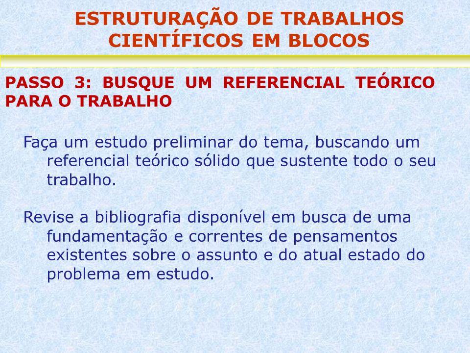ESTRUTURAÇÃO DE TRABALHOS CIENTÍFICOS EM BLOCOS PASSO 3: BUSQUE UM REFERENCIAL TEÓRICO PARA O TRABALHO Faça um estudo preliminar do tema, buscando um