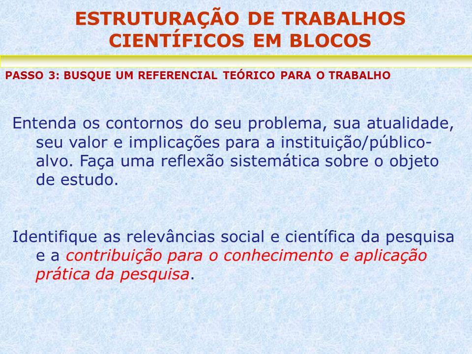 ESTRUTURAÇÃO DE TRABALHOS CIENTÍFICOS EM BLOCOS PASSO 3: BUSQUE UM REFERENCIAL TEÓRICO PARA O TRABALHO Entenda os contornos do seu problema, sua atual