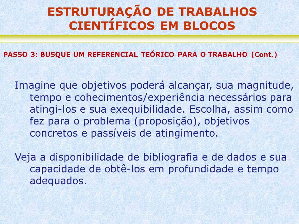 ESTRUTURAÇÃO DE TRABALHOS CIENTÍFICOS EM BLOCOS PASSO 3: BUSQUE UM REFERENCIAL TEÓRICO PARA O TRABALHO (Cont.) Imagine que objetivos poderá alcançar,