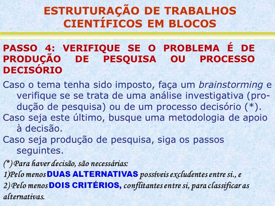 ESTRUTURAÇÃO DE TRABALHOS CIENTÍFICOS EM BLOCOS PASSO 4: VERIFIQUE SE O PROBLEMA É DE PRODUÇÃO DE PESQUISA OU PROCESSO DECISÓRIO Caso o tema tenha sid