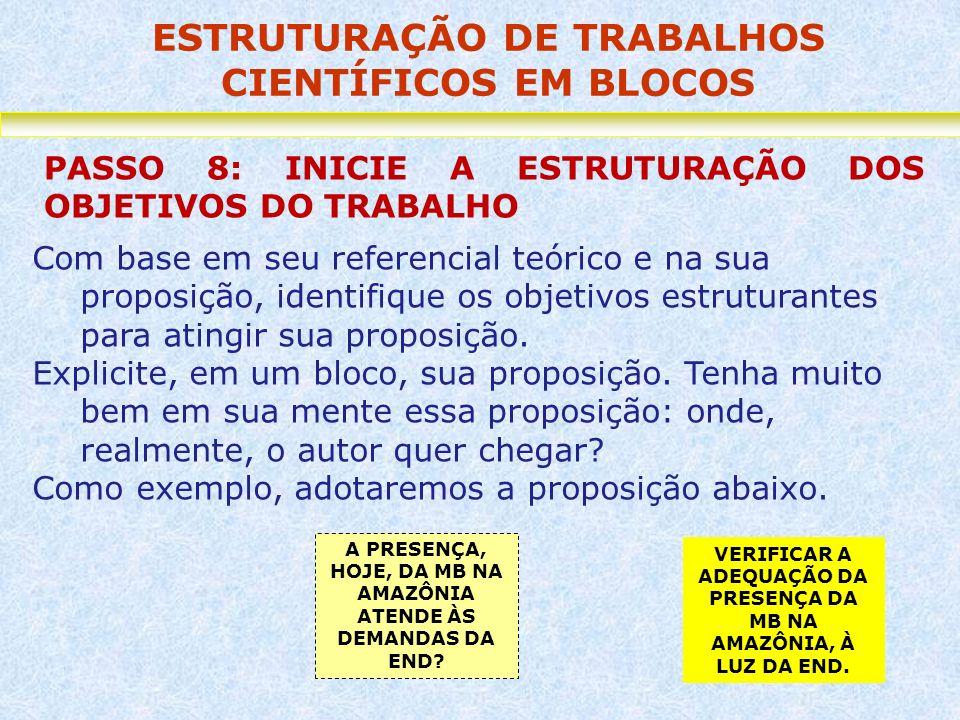 ESTRUTURAÇÃO DE TRABALHOS CIENTÍFICOS EM BLOCOS PASSO 8: INICIE A ESTRUTURAÇÃO DOS OBJETIVOS DO TRABALHO Com base em seu referencial teórico e na sua