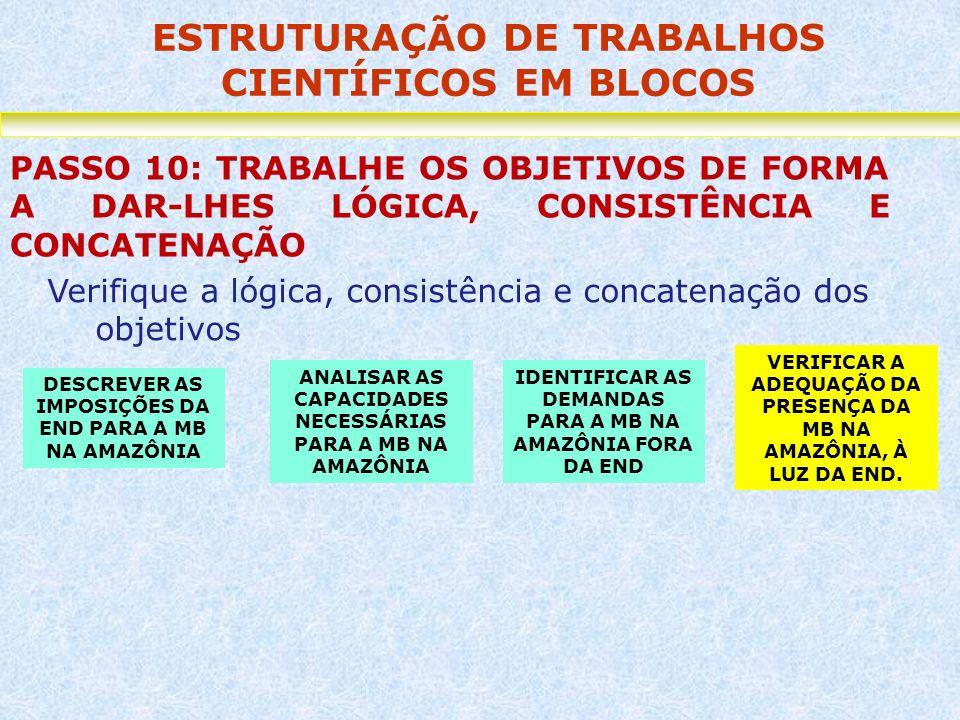 ESTRUTURAÇÃO DE TRABALHOS CIENTÍFICOS EM BLOCOS PASSO 10: TRABALHE OS OBJETIVOS DE FORMA A DAR-LHES LÓGICA, CONSISTÊNCIA E CONCATENAÇÃO Verifique a ló