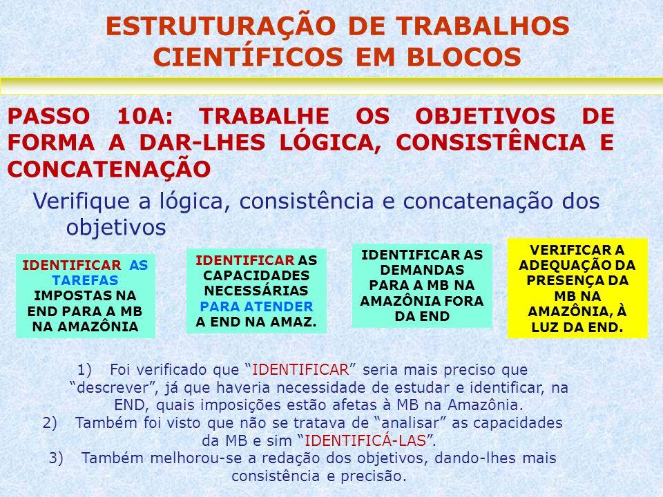 ESTRUTURAÇÃO DE TRABALHOS CIENTÍFICOS EM BLOCOS PASSO 10A: TRABALHE OS OBJETIVOS DE FORMA A DAR-LHES LÓGICA, CONSISTÊNCIA E CONCATENAÇÃO Verifique a l