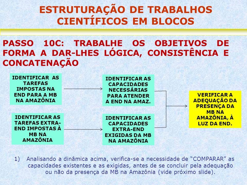 ESTRUTURAÇÃO DE TRABALHOS CIENTÍFICOS EM BLOCOS PASSO 10C: TRABALHE OS OBJETIVOS DE FORMA A DAR-LHES LÓGICA, CONSISTÊNCIA E CONCATENAÇÃO VERIFICAR A A