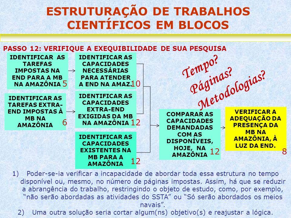 ESTRUTURAÇÃO DE TRABALHOS CIENTÍFICOS EM BLOCOS PASSO 12: VERIFIQUE A EXEQUIBILIDADE DE SUA PESQUISA VERIFICAR A ADEQUAÇÃO DA PRESENÇA DA MB NA AMAZÔN