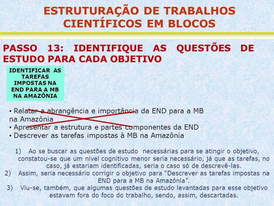 ESTRUTURAÇÃO DE TRABALHOS CIENTÍFICOS EM BLOCOS PASSO 13: IDENTIFIQUE AS QUESTÕES DE ESTUDO PARA CADA OBJETIVO Relatar a abrangência e importância da