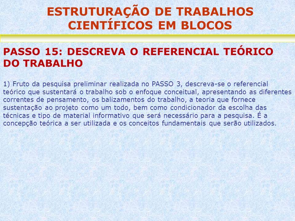 ESTRUTURAÇÃO DE TRABALHOS CIENTÍFICOS EM BLOCOS PASSO 15: DESCREVA O REFERENCIAL TEÓRICO DO TRABALHO 1) Fruto da pesquisa preliminar realizada no PASS