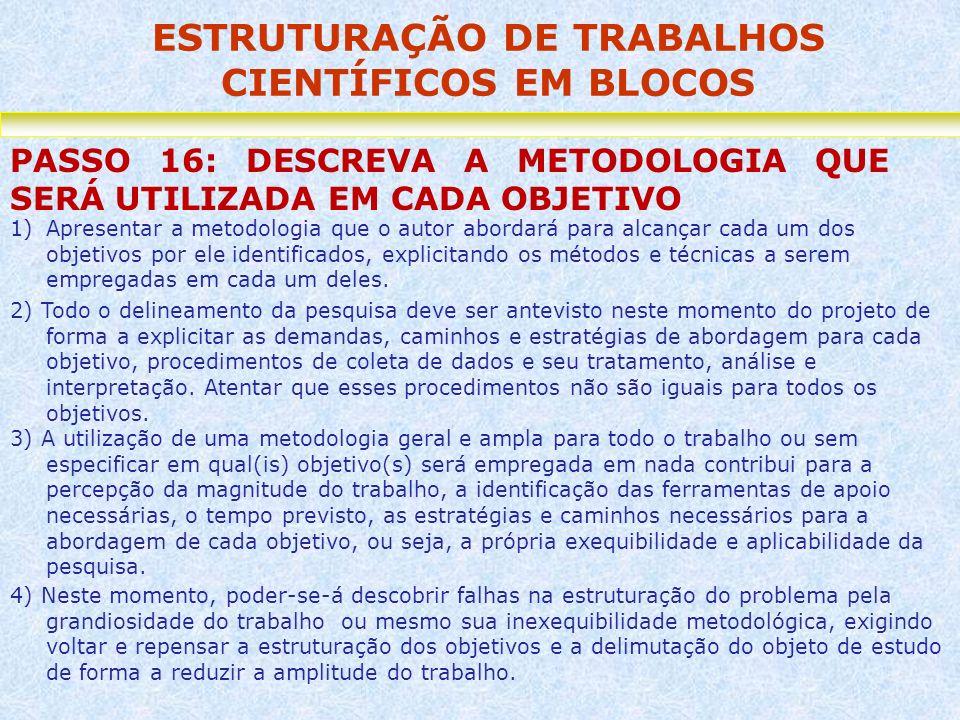 ESTRUTURAÇÃO DE TRABALHOS CIENTÍFICOS EM BLOCOS PASSO 16: DESCREVA A METODOLOGIA QUE SERÁ UTILIZADA EM CADA OBJETIVO 1)Apresentar a metodologia que o