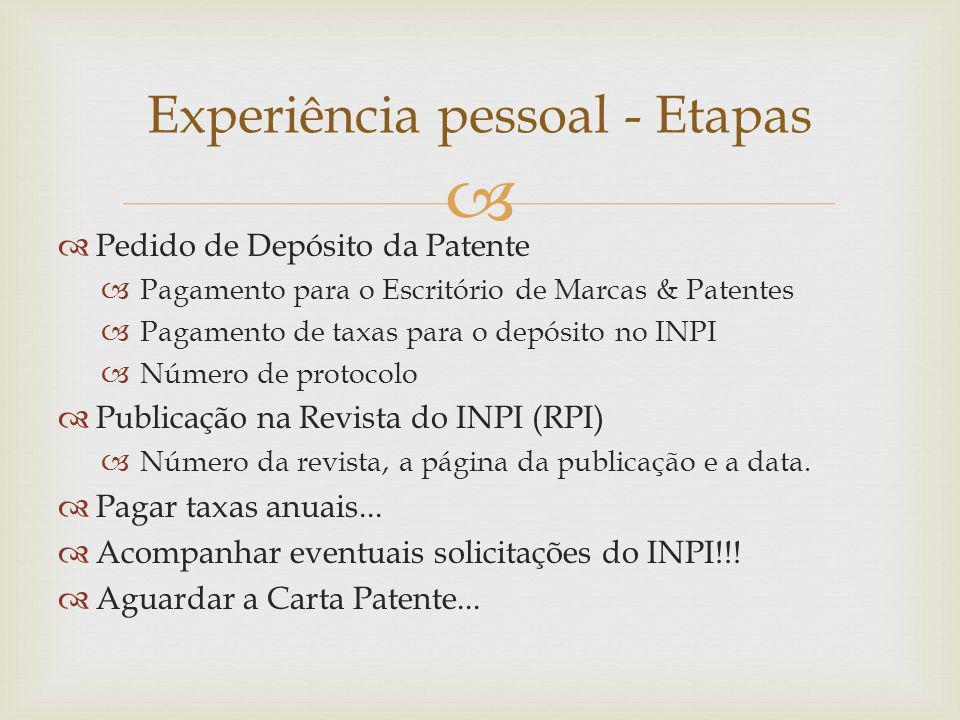 Pedido de Depósito da Patente Pagamento para o Escritório de Marcas & Patentes Pagamento de taxas para o depósito no INPI Número de protocolo Publicação na Revista do INPI (RPI) Número da revista, a página da publicação e a data.