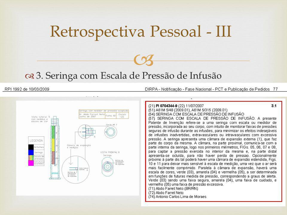 Retrospectiva Pessoal - III 3. Seringa com Escala de Pressão de Infusão
