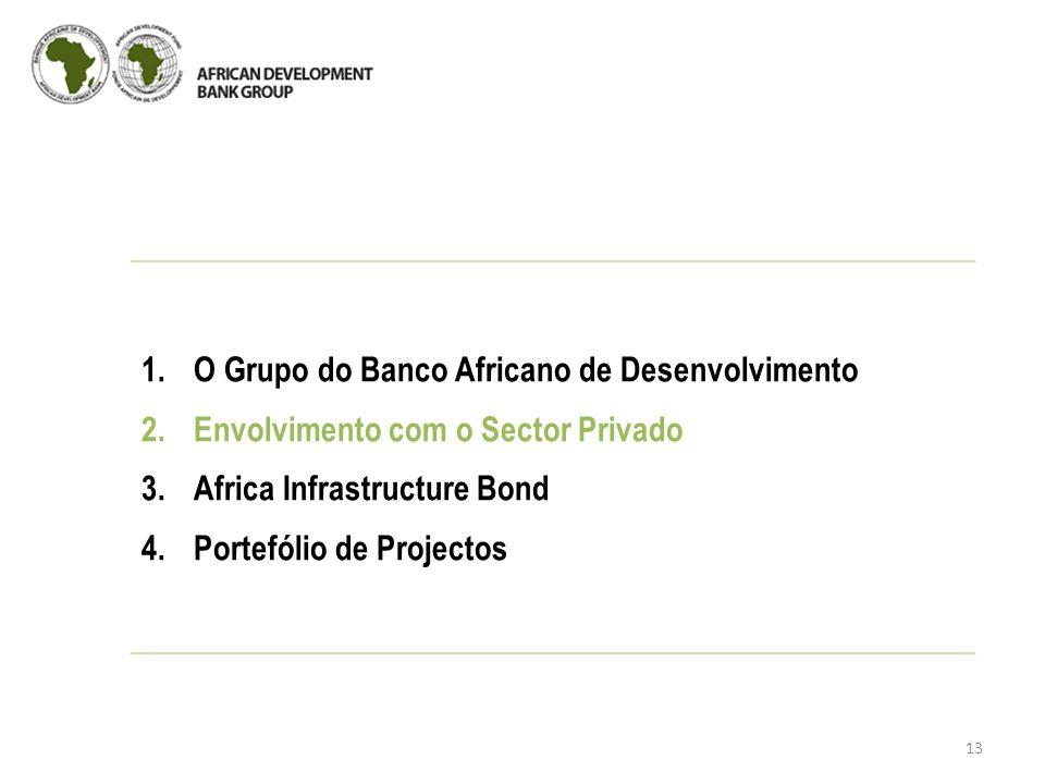 13 1.O Grupo do Banco Africano de Desenvolvimento 2.Envolvimento com o Sector Privado 3.Africa Infrastructure Bond 4.Portefólio de Projectos