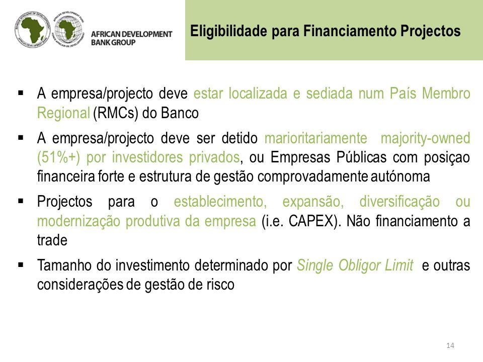 A empresa/projecto deve estar localizada e sediada num País Membro Regional (RMCs) do Banco A empresa/projecto deve ser detido marioritariamente major