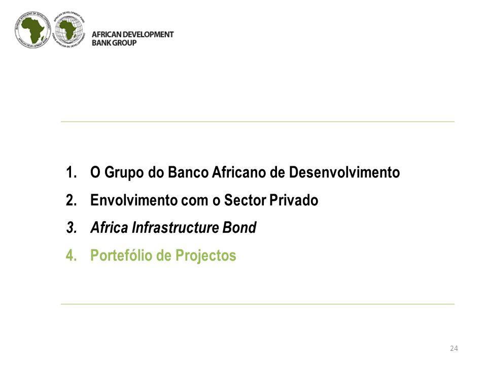 24 1.O Grupo do Banco Africano de Desenvolvimento 2.Envolvimento com o Sector Privado 3.Africa Infrastructure Bond 4.Portefólio de Projectos