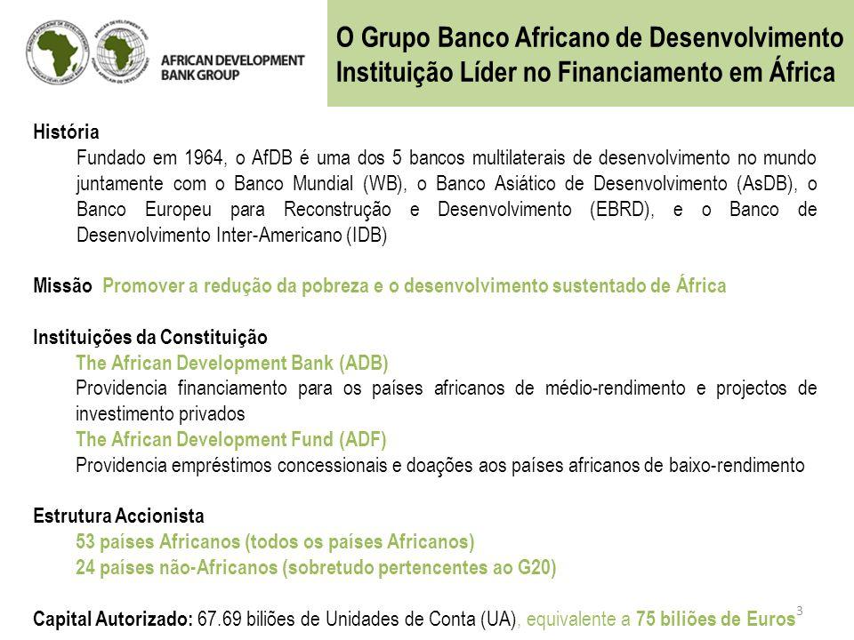 3 História Fundado em 1964, o AfDB é uma dos 5 bancos multilaterais de desenvolvimento no mundo juntamente com o Banco Mundial (WB), o Banco Asiático