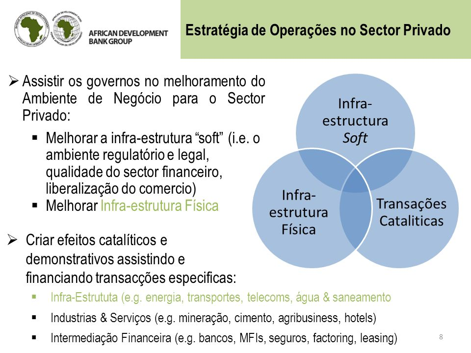 Assistir os governos no melhoramento do Ambiente de Negócio para o Sector Privado: Melhorar a infra-estrutura soft (i.e. o ambiente regulatório e lega