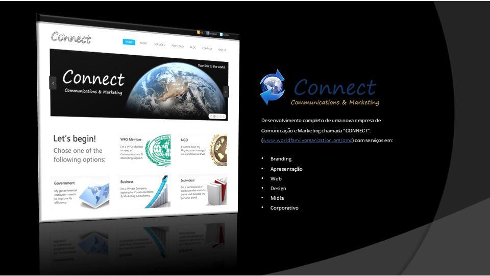 Desenvolvimento completo de uma nova empresa de Comunicação e Marketing chamada CONNECT. (www.worldfamilyorganization.org/omc) com serviços em:www.wor