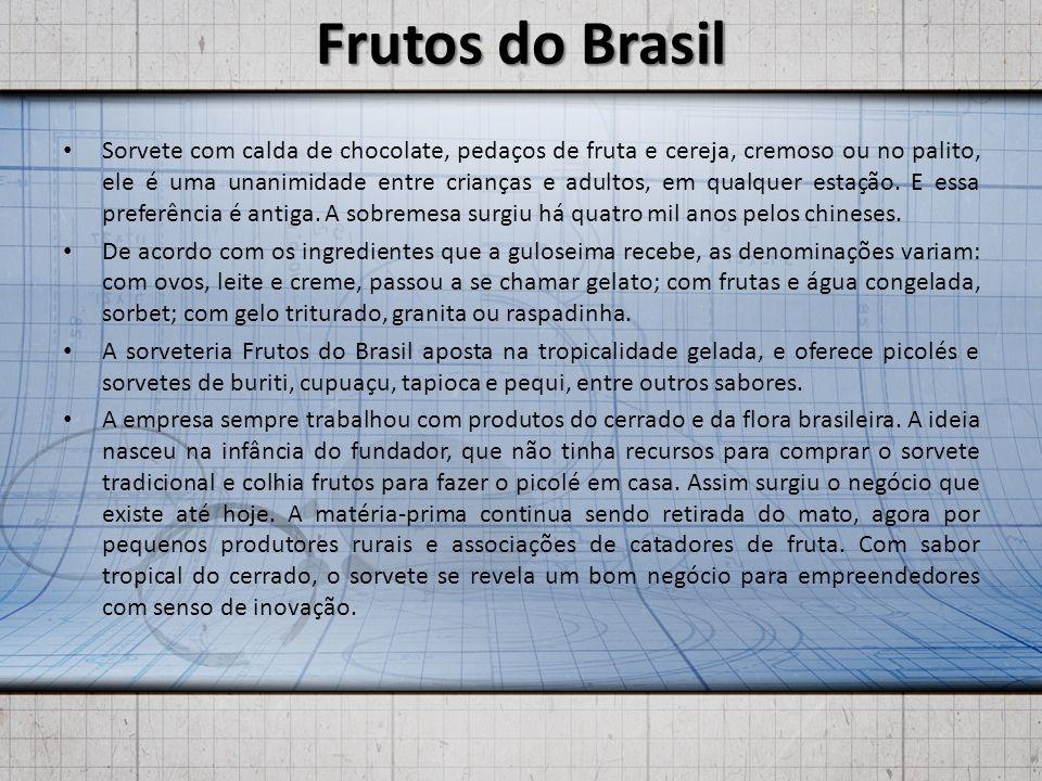 Frutos do Brasil Sorvete com calda de chocolate, pedaços de fruta e cereja, cremoso ou no palito, ele é uma unanimidade entre crianças e adultos, em qualquer estação.