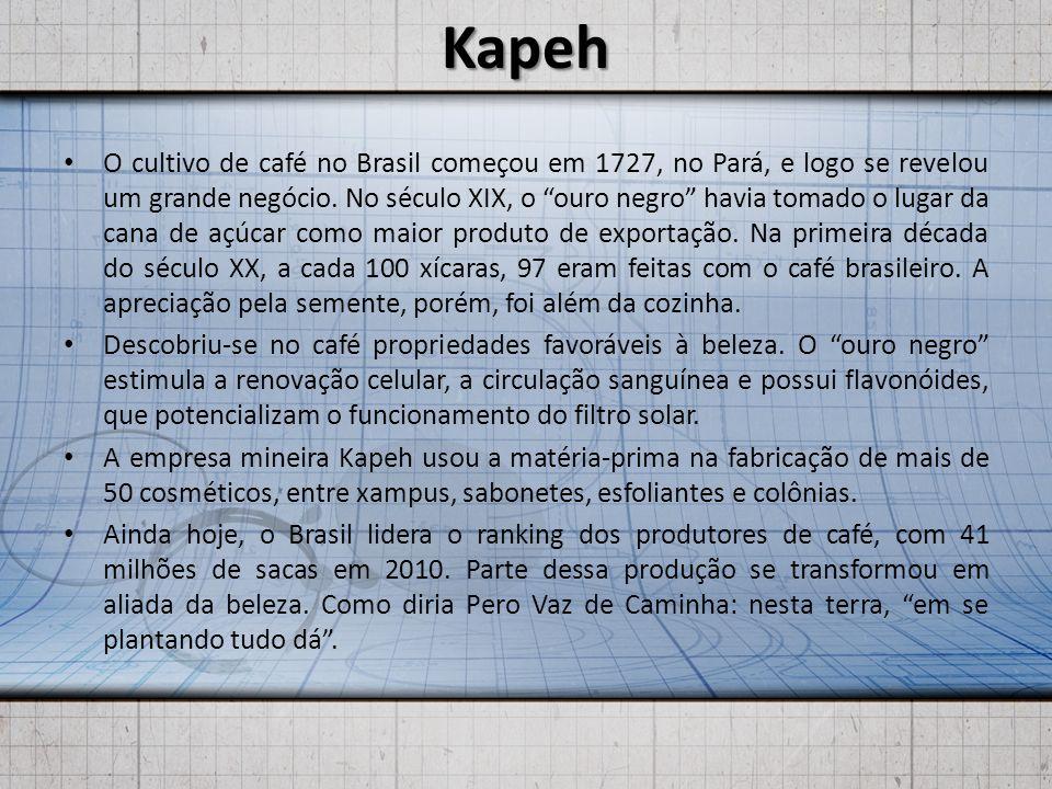 Kapeh O cultivo de café no Brasil começou em 1727, no Pará, e logo se revelou um grande negócio. No século XIX, o ouro negro havia tomado o lugar da c