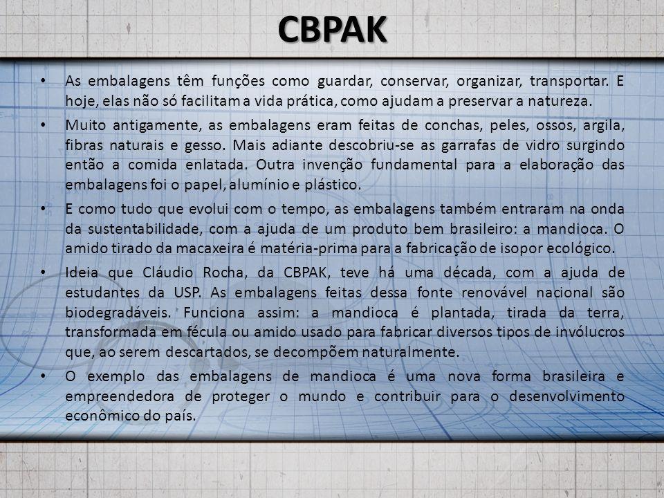 CBPAK As embalagens têm funções como guardar, conservar, organizar, transportar.