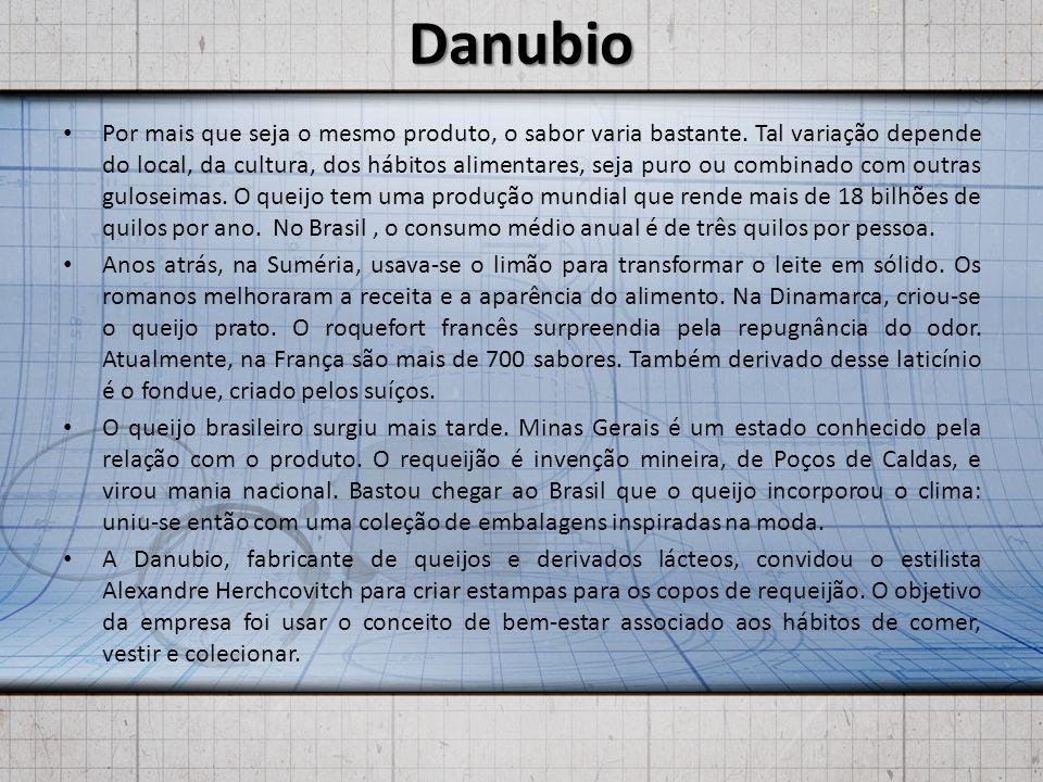 Danubio Por mais que seja o mesmo produto, o sabor varia bastante. Tal variação depende do local, da cultura, dos hábitos alimentares, seja puro ou co