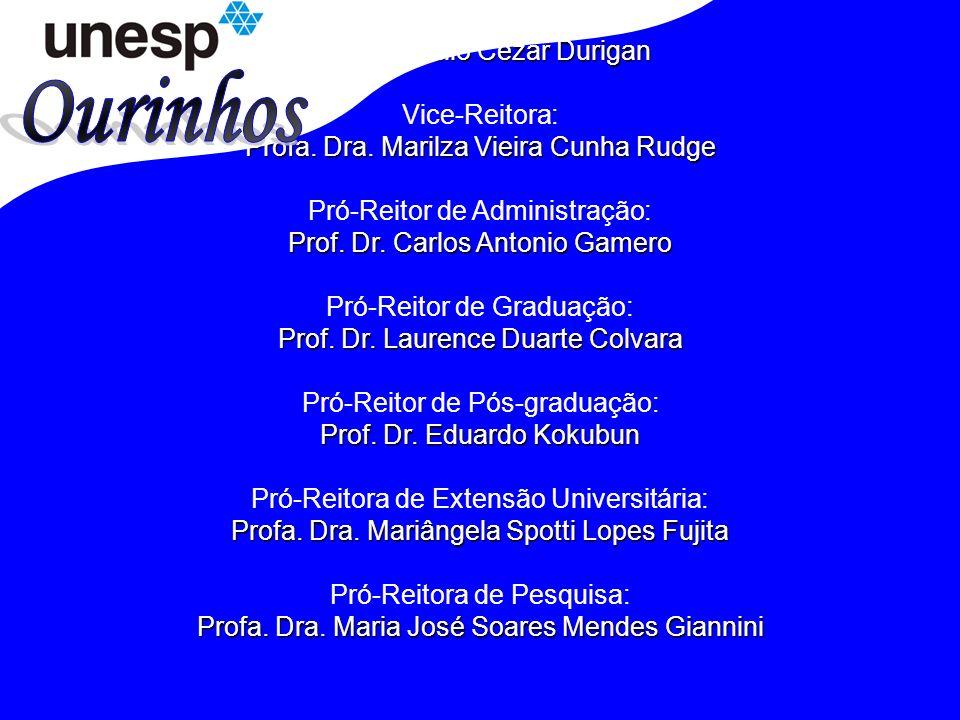 Reitor: Prof.Dr. Julio Cezar Durigan Vice-Reitora: Profa.