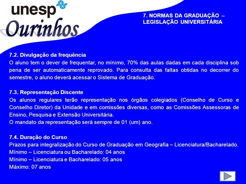 7.NORMAS DA GRADUAÇÃO – LEGISLAÇÃO UNIVERSITÁRIA 7.1.