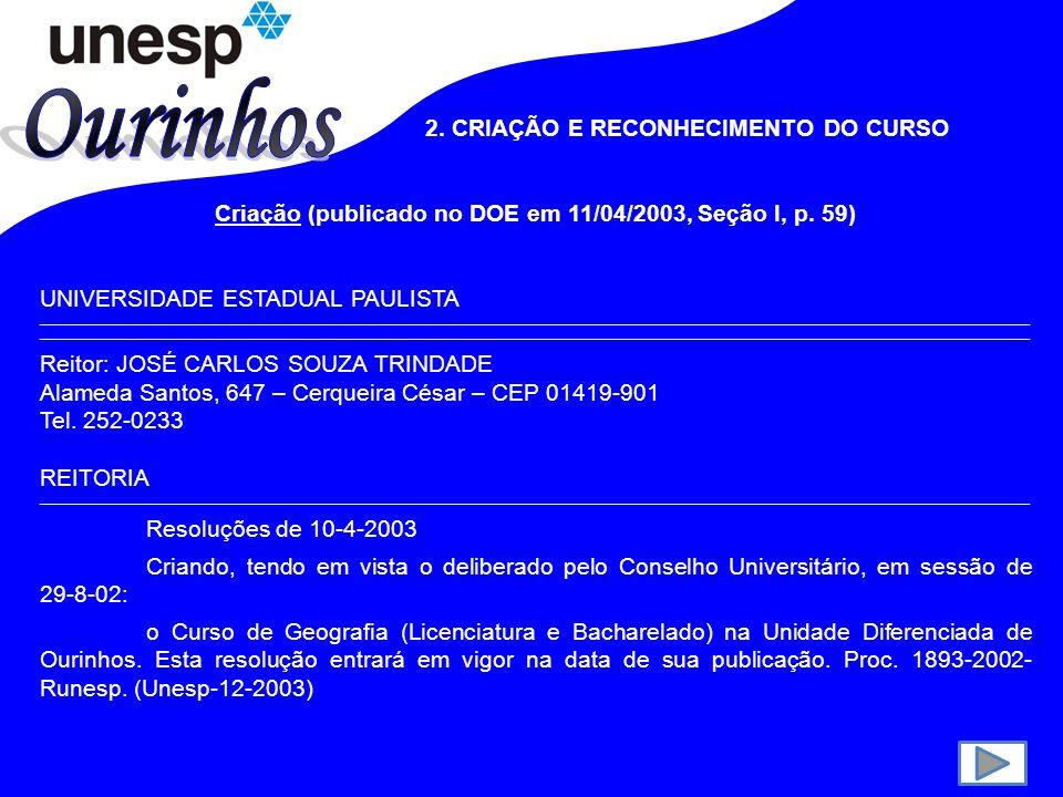 2.CRIAÇÃO E RECONHECIMENTO DO CURSO Criação (publicado no DOE em 11/04/2003, Seção I, p.