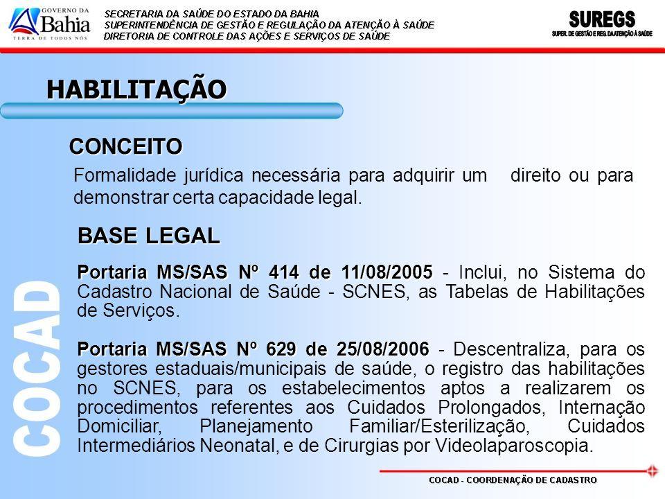 HABILITAÇÃO Formalidade jurídica necessária para adquirir um direito ou para demonstrar certa capacidade legal. Portaria MS/SAS Nº 414 de 11/08/2005 P