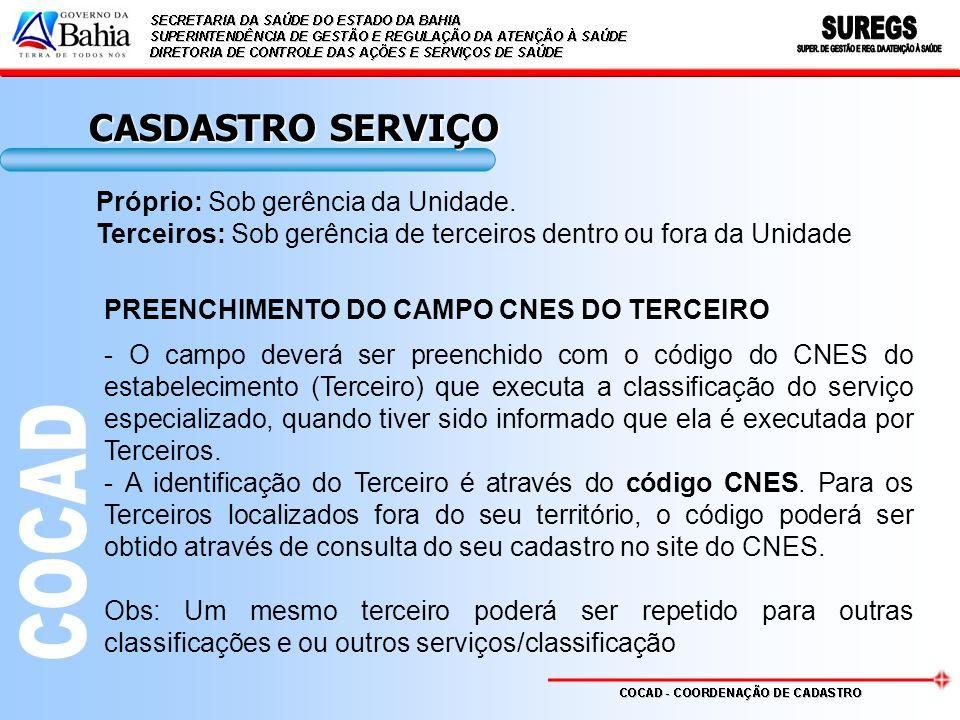 PREENCHIMENTO DO CAMPO CNES DO TERCEIRO - O campo deverá ser preenchido com o código do CNES do estabelecimento (Terceiro) que executa a classificação