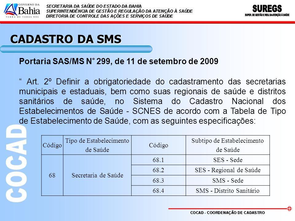 Portaria SAS/MS N° 299, de 11 de setembro de 2009 Art. 2º Definir a obrigatoriedade do cadastramento das secretarias municipais e estaduais, bem como