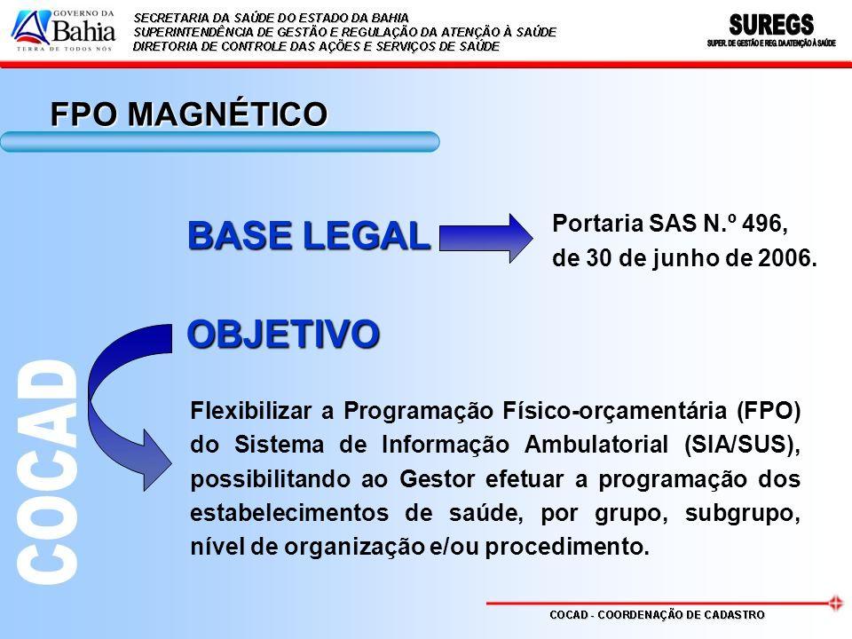 BASE LEGAL Portaria SAS N.º 496, de 30 de junho de 2006. Flexibilizar a Programação Físico-orçamentária (FPO) do Sistema de Informação Ambulatorial (S