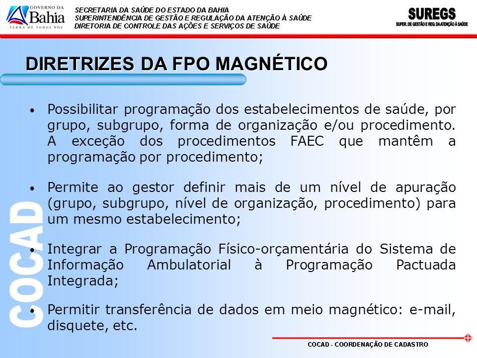 DIRETRIZES DA FPO MAGNÉTICO Possibilitar programação dos estabelecimentos de saúde, por grupo, subgrupo, forma de organização e/ou procedimento. A exc