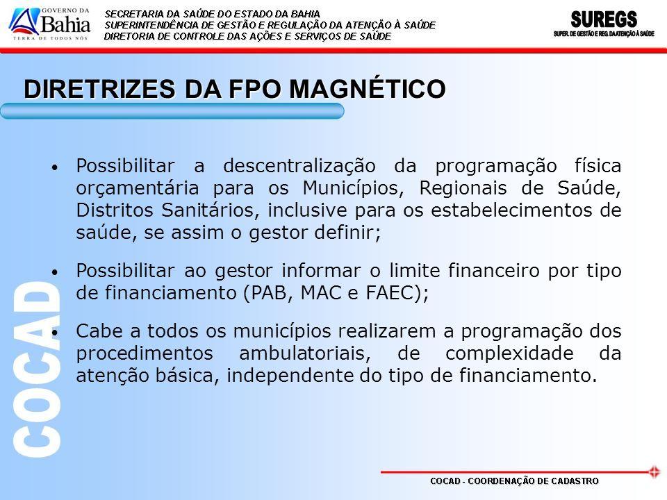 Possibilitar a descentralização da programação física orçamentária para os Municípios, Regionais de Saúde, Distritos Sanitários, inclusive para os est