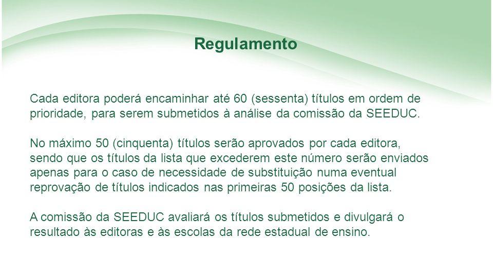 Regulamento Cada editora poderá encaminhar até 60 (sessenta) títulos em ordem de prioridade, para serem submetidos à análise da comissão da SEEDUC.