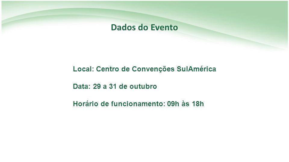 Dados do Evento Local: Centro de Convenções SulAmérica Data: 29 a 31 de outubro Horário de funcionamento: 09h às 18h