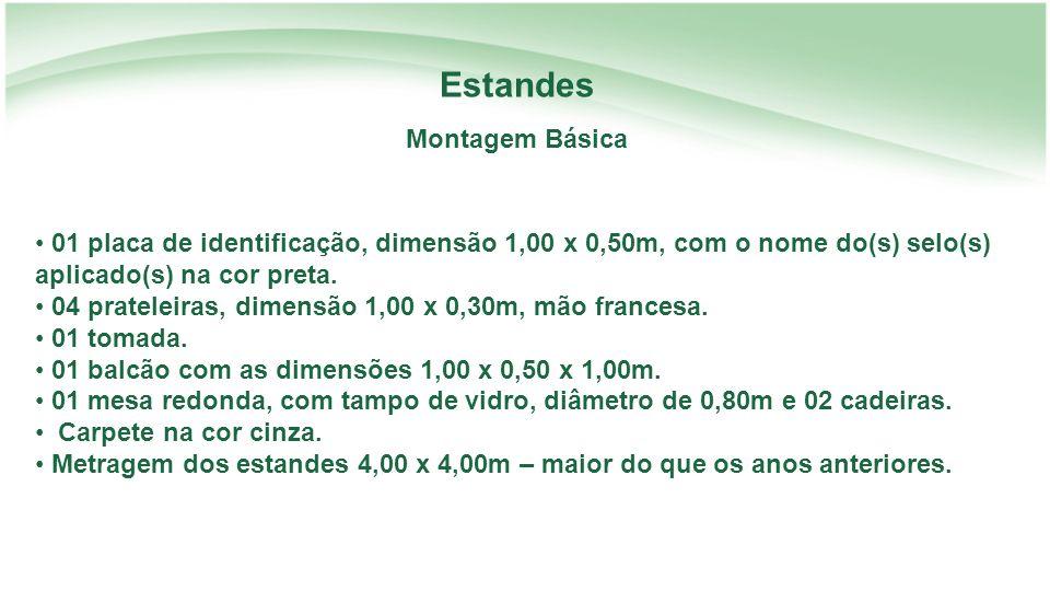 Estandes Montagem Básica 01 placa de identificação, dimensão 1,00 x 0,50m, com o nome do(s) selo(s) aplicado(s) na cor preta.