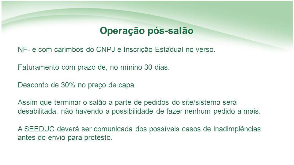 NF- e com carimbos do CNPJ e Inscrição Estadual no verso.