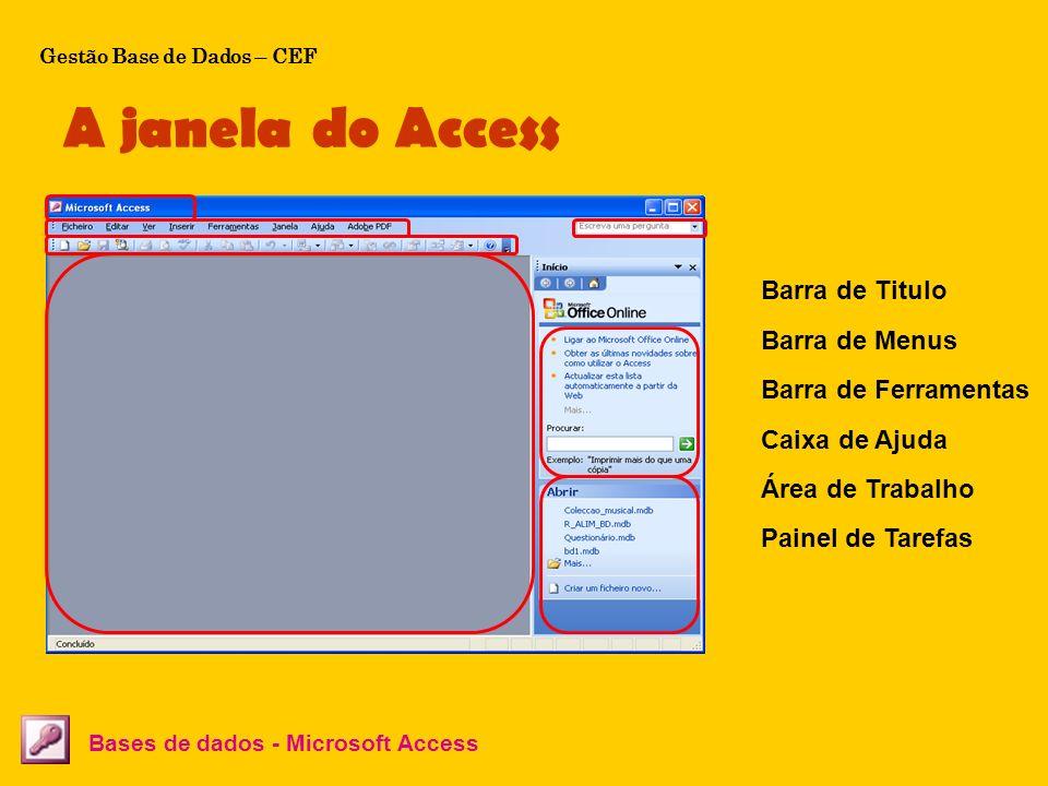 A janela do Access Bases de dados - Microsoft Access Barra de Titulo Barra de Menus Barra de Ferramentas Caixa de Ajuda Área de Trabalho Painel de Tar